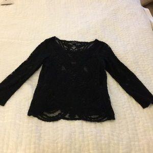 Express Black Bohemian Lace Top